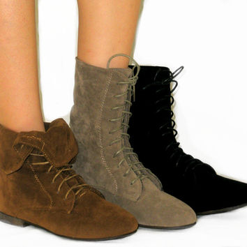 SO SOFT Fold Over Lace Up Boot Flat Ankle Bootie Calf High*Faux Suede*