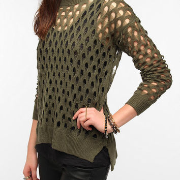 Sparkle & Fade Destroyed Mesh Sweater