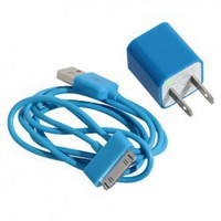 $ 2.65 Mini 2 in 1 Charger Kit (US Standard USB Power Apdater + USB Cable) for iPhone 4/4S/3GS/3G (Blue) China Wholesale - Everbuying.com