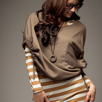 Stylist Stripe Ladies Two Piece Dresses Khaki : Wholesaleclothing4u.com