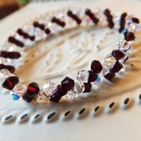 Swarovski Sapphire Garnet Crystal Birthstone January Stretch Bracelet