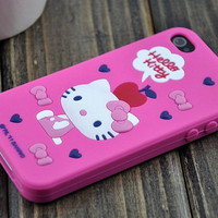 iPhone4 Hello Kitty Silicon Protective Casing Cover - GULLEITRUSTMART.COM