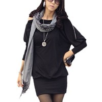 Allegra K Ladies Black Long Dolman Sleeve Zipper Neck Pullover Loose Dress L