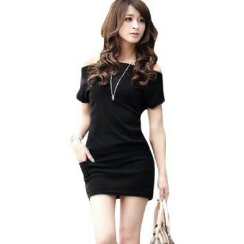 Lady Boat Neck Dolman Sleeve Pockets Detail Casual Mini Dress