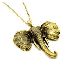 Marcelina&amp;#39;s Antiqued Gold Elephant Safari Style Necklace - Only &amp;#36;28.95        &amp;mdash; Fantasy Jewelry Box