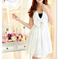 White Chiffon V-Neck Bow Korean Style 2012 Dress