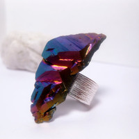Rainbow Titanium Quartz Ring - Silver Band Adjustable