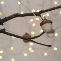 Acorn Garland Needle Felted Natural Decor 10 Acorns Strung on Hemp Twine
