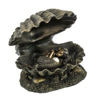 Bronzed Finish Mermaid Baby In Clam Shell Statue