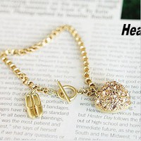 Luxury Rhinestone Ballet Shoes&Heart Charm Bracelet at online cheap fashion jewelry store Gofavor