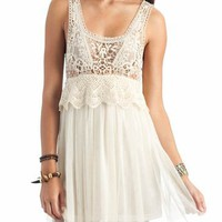 crochet mesh tank dress &amp;#36;38.00 in CREAM RUST - Casual | GoJane.com