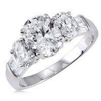 Sterling Silver 925 Oval Cubic Zirconia CZ 3 Stone Ring - Women's Engagement Wedding Ring: Jewelry: Amazon.com