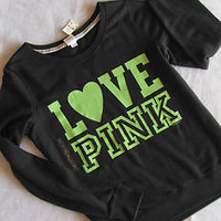 Victoria Secret LOVE PINK Pullover Sweatshirt Sweats M Black Green Medium