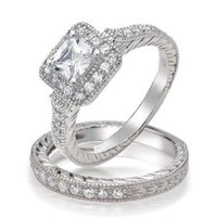 Bling Jewelry .925 Silver Princess Brilliant Cut CZ Vintage Style Engagement Wedding Ring Set: Jewelry: Amazon.com