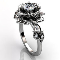 Platinum diamond unusual unique floral engagement ring, bridal ring, wedding ring ER-1032