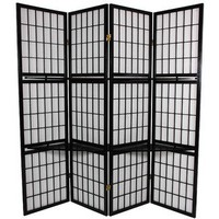 "Oriental Furniture 65"" Window Pane Room Divider with Shelf in Black 