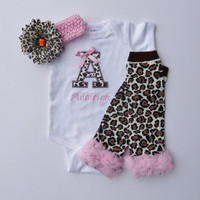 Personalized Monogram Cheetah Pink Onesuit Baby Girl Diva Gift Set With Leg Warmers