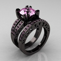 Modern Vintage 14K Black Gold 3.0 Carat Light Pink Sapphire Solitaire and Wedding Ring Bridal Set R102S-14KBGLPS