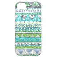 Blue, White, and Green Drawn Tribal Print iPhone 5 Cover from Zazzle.com