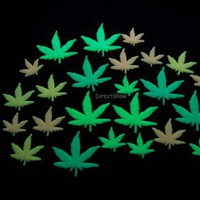 24 Piece Glow in the Dark Multicolor Marijuana Weed Pot Leafs
