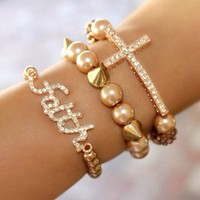 SET Rose Gold Sideways Cross And Faith Charm Bracelet Bracelets