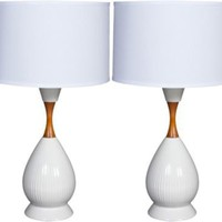 One Kings Lane - Madeline Stuart - Danish Modern Ceramic  Teak Lamps, Pair