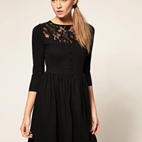 ASOS | ASOS Dress with Button Front and Lace Insert at ASOS