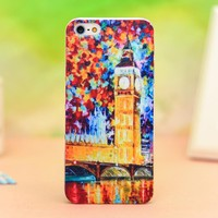 Novetly Oil painting London Big Ben Relief Hard Cover Case for Iphone 4/4s/5