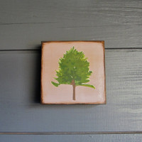 Forest Woodland Art Blocks 5x5 Norway Pine Autumn by redtilestudio