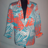 Vintage 1980s Turquoise Orange Blazer Tropical Design