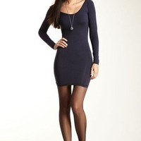 American Apparel Cotton Spandex Jersey UNeck Long Sleeve Mini Dress Navy M