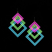 Neon Tri Dangle Pink/Green/Blue Chain Mail Dangle Earrings