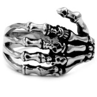 Stainless Steel Biker Ring with Gothic Skeleton Hand