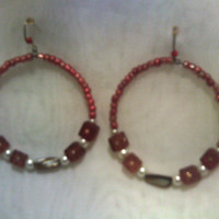 Earthtone Semi-Precious Stone Hoop Earrings