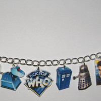 Doctor Who Charm Bracelet - Tardis, Dr., Mat Smith, David Tennant, Addipose Baby