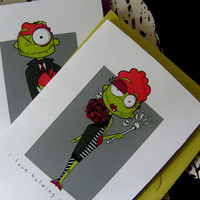 Zombies Halloween LoveSet of 2 folded cards by littletoad on Etsy