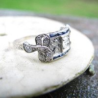 Beautiful Edwardian to Art Deco Platinum Diamond and Sapphire Ring - Old Mine Cut Diamond - Lovely Filigree and Details