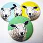 Sheep Brooch fabric covered pinback button badge Lamb pin (Quantity-1)