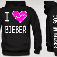 I Love Justin Bieber Hoodie With Pink Heart Justin by TeesGame