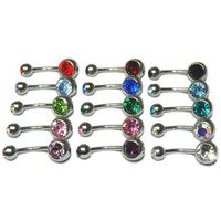 Lot of 15 Double Gem Real Cubic Zirconia CZ Crystal Belly Navel Rings - 15 Colors, Gauge 14g or 1.6