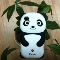 Lovely Panda 3D Soft Shell Case for iPhone 4/4S - Black