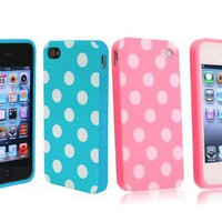 2 in 1 Combo Polka Dot Flex Gel Case for Iphone 4 and 4S - Baby Blue/ Pink
