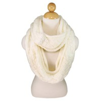 Premium Winter Thick Infinity Twist Cable Knit Scarf, Cream