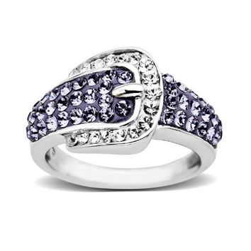 Carnevale Sterling Silver Buckle Shape Purple and White with Swarovski Elements Ring, Size 7