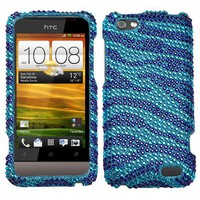 Jewel Rhinestone Diamond Case Protector Cover (Blue Zebra) for HTC One V OneV 1V