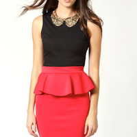 Betsy Peplum Jersey Pencil Skirt