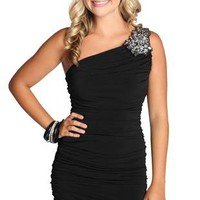 one shoulder homecoming dress with stone design on shoulder - debshops.com
