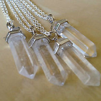 Lucky Quartz Crystal Point Necklace 30&quot; Necklace Bohemian Boho Gypsy NEW Clear