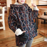 Union Jack Pattern Hooded Coat,Cheap in Wendybox.com
