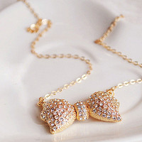 Wholesale Fashion Gold Tone Rhinestone Bow Pendant Necklace